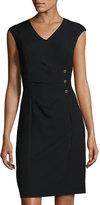 Ellen Tracy Center-Ruched Cap-Sleeve Dress, Black