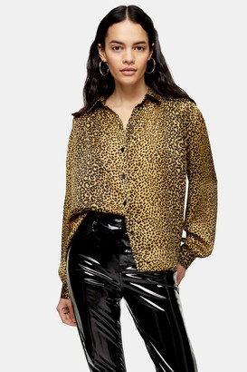 Topshop Womens Animal Printed Shirt - Ochre