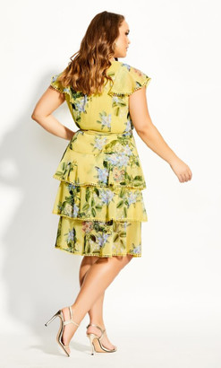 City Chic Sweet Garden Dress - buttercup