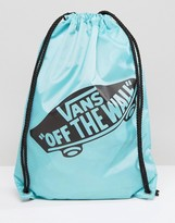 Vans Off The Wall Drawstring Bag In Pool Blue