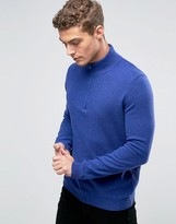 United Colors Of Benetton 100% Merino Wool Jumper With High Zip Neck