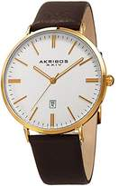 Akribos XXIV Men's Gold-Tone Case with Gold-Tone Accented Textured White Dial on Black Genuine Leather Strap Watch AK935YG