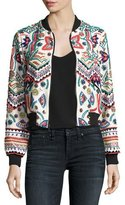 Alice + Olivia Lonnie Embroidered Cropped Silk Bomber Jacket, Multi
