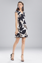 Josie Natori Abstract Printed Jacquard Sleeveless Seam Dress
