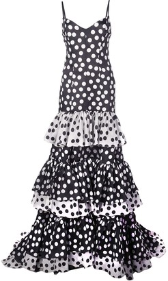 Carolina Herrera Tiered Polka-Dot Dress