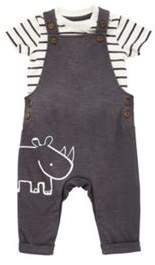 F&F Striped Bodysuit And Dungaree Set 0-1 months