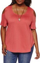Self Esteem Cold Shoulder 2Fer Round Neck Knit Blouse-Juniors Plus