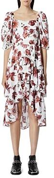 The Kooples Smocked Floral Print Midi Dress