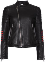 Neil Barrett embroidered biker jacket - women - Leather/Cupro - S
