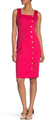Calvin Klein Square Neck Side Button Detail Sheath Dress