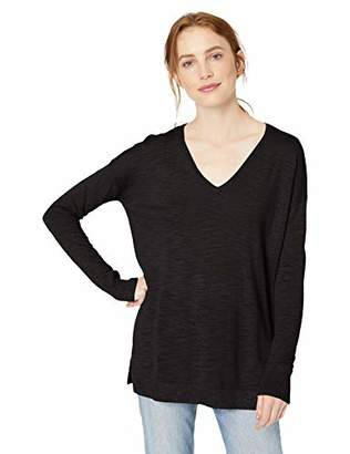 Daily Ritual Women's Lightweight V-Neck Tunic Sweater,M