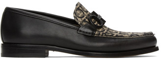 Salvatore Ferragamo Black and Beige Rolo 8 Loafers