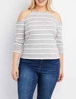 Charlotte Russe Plus Size Striped Cold Shoulder Top