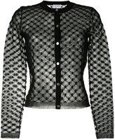 Carven mesh panel cardigan - women - Cotton/Nylon/Polyester - S