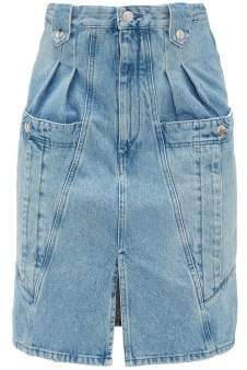 Isabel Marant Kalosia Panelled Denim Midi Skirt - Womens - Light Blue
