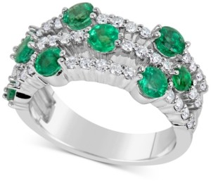 Macy's Emerald (1-3/4 ct. t.w.) and Diamond (5/8 ct. t.w.) Ring in 14k White Gold