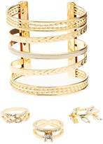 Charlotte Russe Embellished Caged Cuff Bracelet & Stacking Rings - 4 Pack