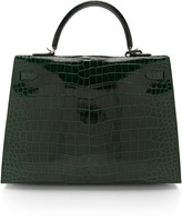 Hermes Heritage Auctions Special Collections 35Cm Vert Fonce Shiny Porosus Crocodile Sellier Kelly