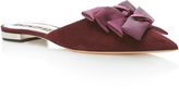 Rochas Suede Flat Mule with Silk Bows