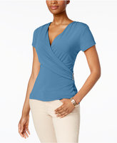Charter Club Embellished Faux-Wrap Top, Only at Macy's
