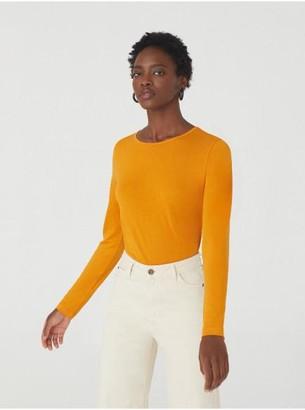 Nice Things Wool Basic Long Sleeve T Shirt - Small / Orange
