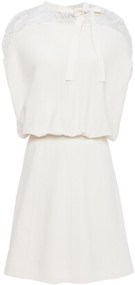 Valentino Bow-detailed Stretch-knit And Corded Lace Mini Dress