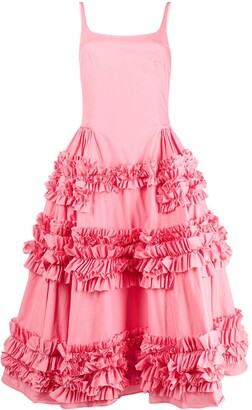 Molly Goddard Ruffle Detail Midi Dress