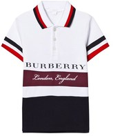 Burberry White and Burgundy Stripe Branded Polo