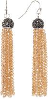 Natasha Accessories Crystal Detail Beaded Fringe Earrings