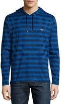 Lacoste Striped Cotton Hooded Sweatshirt, Steamer/Cosmos