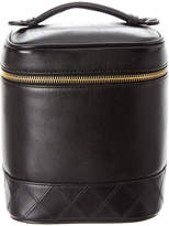 Chanel Black Lambskin Leather Tall Cosmetic Case