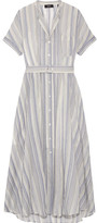 Theory Avink Striped Crinkled Cotton And Silk-blend Midi Dress - Cream