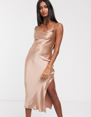 Asos Design DESIGN cami midi slip dress in high shine satin with lace up back-Brown