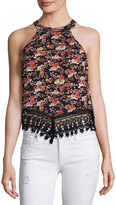 Glamorous Floral-Print Top with Lace Trim, Navy/Faded Rose