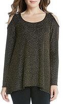 Karen Kane Crew Neck Cold Shoulder Sparkle Knit Top