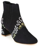 Sophia Webster Liliana Embroidered Suede Block Heel Booties
