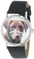 Whimsical Watches Kids' R0130011 Classic Chocolate Labrador Retriever Black Leather And Silvertone Photo Watch