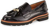 Stuart Weitzman Manila Leather Tassel Loafer, Jet Black