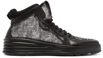 Fendi Ff Camo-print Mesh High-top Trainers - Black Multi