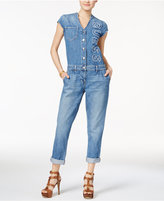 GUESS Cotton Denim Logo Jumpsuit