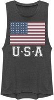 Unbranded Juniors' Distressed American Flag USA Vintage Graphic Muscle Tee
