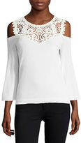 Kobi Halperin ?Selena Lace-Trimmed Cold-Shoulder Sweater