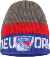 Reebok Men's Gray/Blue New York Rangers Center Ice Uncuffed Knit Beanie