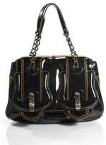 Fendi Black Patent Leather Orange Stitch Large B Bag Shoulder Bag