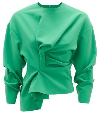 A.W.A.K.E. Mode Draped Crepe Top - Green