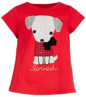 First Impressions Baby Girls Holiday Dog T-Shirt, Created for Macy's