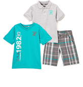 Beverly Hills Polo Club Teal & Heather Gray Plaid Polo Tee & Shorts - Toddler & Boys