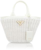 Prada Small Leather-Trimmed Raffia Basket Bag