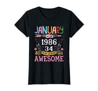 Womens January Girls 1986 Birthday Shirt Made In 1986 34 Years Old T-Shirt