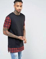 Asos Super Longline T-Shirt With Red Check Sleeve And Hem Extenders And Side Zips